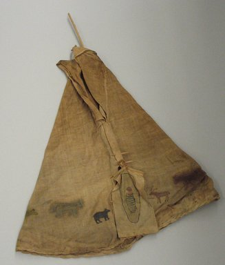 Blackfoot (Native American). Toy Tipi with Pole, early 20th century. Wood, fabric, pigment Brooklyn Museum, Bequest of W.S. Morton Mead, 32.2099.32553. Creative Commons-BY