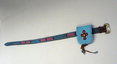 Blackfoot (Native American). Tourquoise Blue Beaded Belt with Pouch, first quarter 20th century. Beads, commercial leather Brooklyn Museum, Bequest of W.S. Morton Mead, 32.2099.32572. Creative Commons-BY
