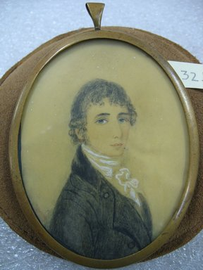 Portrait of a Young Man after Richard Cosway (English, 1742-1821), n.d. Watercolor on ivory portrait in brass frame under glass, Image (sight): 3 1/2 x 2 11/16 in. (8.9 x 6.8 cm). Brooklyn Museum, Bequest of Margaret S. Bedell, 32.466