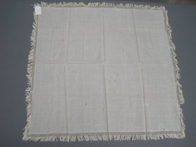 Table Cloth with Fringed Edge, 19th century. White linen, 38 x 39 in. (96.5 x 99.1 cm). Brooklyn Museum, Gift of Louise G. Zabriskie, 32.480.6. Creative Commons-BY