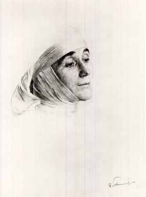 Ferdinand Schmutzer (Austrian, 1870-1928). The Nun. Drypoint on wove paper, 9 13/16 x 6 5/8 in. (25 x 16.9 cm). Brooklyn Museum, Gift of the Estate of Emil Fuchs, 32.485