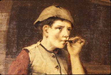 John George Brown (American, born England, 1831-1913). Standing Boy Smoking a Cigar, 1867. Oil on canvas, 11 3/4 x 6 15/16 in. (29.9 x 17.6 cm). Brooklyn Museum, Gift of the executors of the Estate of Colonel Michael Friedsam, 32.802