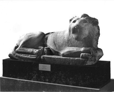 Recumbent Lion, 305-30 B.C.E. Limestone, 13 3/4 in. (35 cm). Brooklyn Museum, Charles Edwin Wilbour Fund, 33.382a-b. Creative Commons-BY