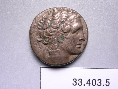 Greek. Tetradrachm of Ptolemy XIII. Silver, 3/16 x 1 in. (0.4 x 2.5 cm). Brooklyn Museum, Frederick Loeser Fund, 33.403.5. Creative Commons-BY