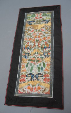Table Runner, Early 20th Century. Embroidered plain satin weave silk, 12 3/16 x 27 3/16 in. (31 x 69 cm). Brooklyn Museum, Gift of Theodora Wilbour, 33.537. Creative Commons-BY