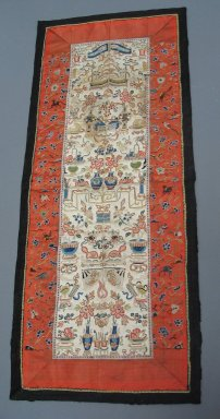 Table Runner, Early 20th Century. White plain satin weave silk, 10 5/8 x 25 in. (27 x 63.5 cm). Brooklyn Museum, Gift of Theodora Wilbour, 33.541. Creative Commons-BY