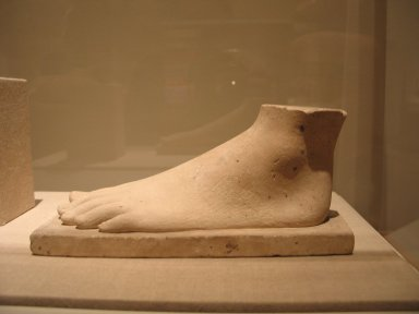 Model or Temple Offering of a Foot, ca. 664-30 B.C.E. Limestone, 3 15/16 x 2 1/2 x 8 3/4 in. (10 x 6.4 x 22.3 cm). Brooklyn Museum, Charles Edwin Wilbour Fund, 34.1001. Creative Commons-BY