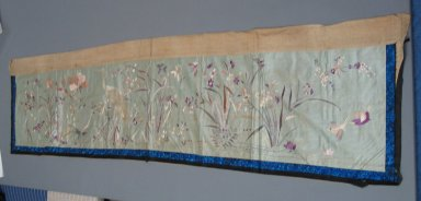 Table Hanging, 19th Century. Embroidered plain satin weave silk, 13 3/4 x 70 7/8 in. (35 x 180 cm). Brooklyn Museum, Brooklyn Museum Collection, 34.1013. Creative Commons-BY