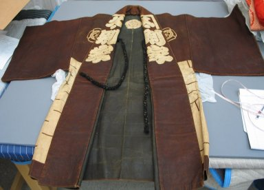Coat. Leather, at sleeves: 51 3/16 x 44 7/8 in. (130 x 114 cm). Brooklyn Museum, Brooklyn Museum Collection, 34.1249. Creative Commons-BY