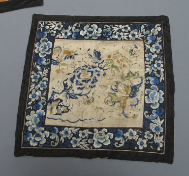 Square Mat, 19th century. Embroidered satin silk, cloth cotton, 15 3/4 x 16 1/8 in. (40 x 41 cm). Brooklyn Museum, Brooklyn Museum Collection, 34.1445. Creative Commons-BY