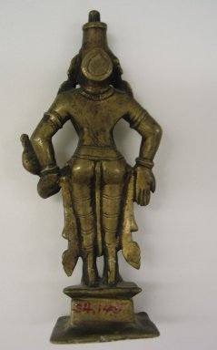 Brahmanical. Small Figure of Visnu?, 17-18th Century. Brass, 6 1/8 x 2 3/4 in. (15.5 x 7 cm). Brooklyn Museum, Brooklyn Museum Collection, 34.145. Creative Commons-BY