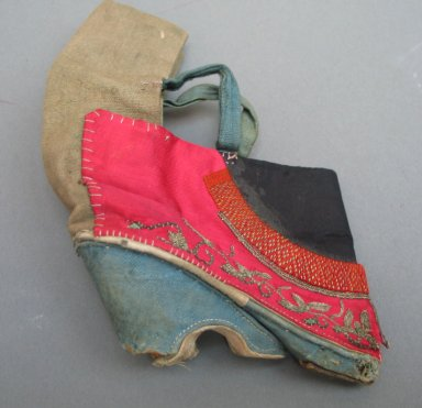 Shoe for a Woman's Bound Feet, 19th century. Wood, embroidered cloth silk and cloth cotton, 5 7/8 x 4 5/16 in. (15 x 11 cm). Brooklyn Museum, Brooklyn Museum Collection, 34.1498. Creative Commons-BY