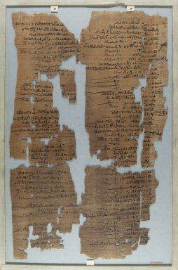 Fragment of Wilbour Papyrus, ca. 1147 B.C.E. Papyrus, pigment, Glass: 11 13/16 x 18 1/8 in. (30 x 46 cm). Brooklyn Museum, Charles Edwin Wilbour Fund, 34.5596.12