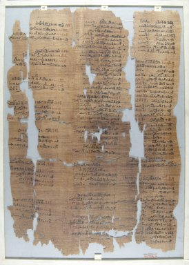 Fragment of Wilbour Papyrus, ca. 1147 B.C.E. Papyrus, pigment, Glass: 13 x 18 1/8 in. (33 x 46 cm). Brooklyn Museum, Charles Edwin Wilbour Fund, 34.5596.17