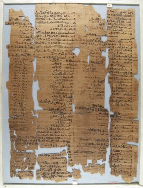 Fragment of Wilbour Papyrus, ca. 1147 B.C.E. Papyrus, pigment, Glass: 13 3/4 x 18 1/8 in. (35 x 46 cm). Brooklyn Museum, Charles Edwin Wilbour Fund, 34.5596.19