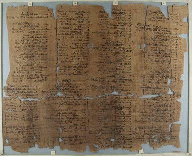 Fragment of Wilbour Papyrus, ca. 1147 B.C.E. Papyrus, pigment, Glass: 18 1/8 x 22 1/16 in. (46 x 56 cm). Brooklyn Museum, Charles Edwin Wilbour Fund, 34.5596.22