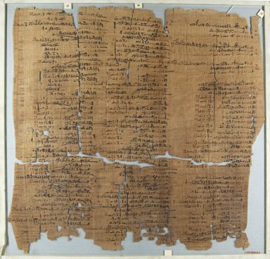 Fragment of Wilbour Papyrus, ca. 1147 B.C.E. Papyrus, pigment, Glass: 18 1/8 x 18 7/8 in. (46 x 48 cm). Brooklyn Museum, Charles Edwin Wilbour Fund, 34.5596.23