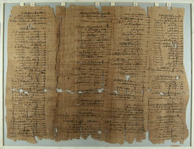 Fragment of Wilbour Papyrus, ca. 1147 B.C.E. Papyrus, pigment, Glass: 18 1/8 x 23 5/8 in. (46 x 60 cm). Brooklyn Museum, Charles Edwin Wilbour Fund, 34.5596.25