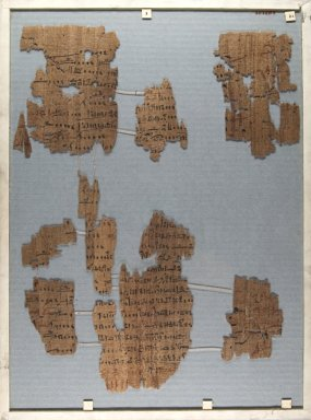 Fragment of Wilbour Papyrus, ca. 1147 B.C.E. Papyrus, pigment, Glass: 13 3/8 x 18 1/8 in. (34 x 46 cm). Brooklyn Museum, Charles Edwin Wilbour Fund, 34.5596.2