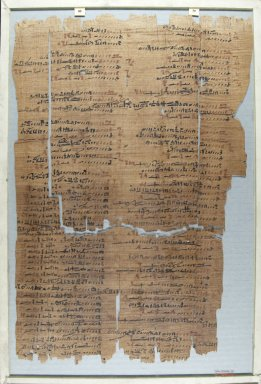 Fragment of Wilbour Papyrus, ca. 1147 B.C.E. Papyrus, pigment, Glass: 12 3/16 x 18 1/8 in. (31 x 46 cm). Brooklyn Museum, Charles Edwin Wilbour Fund, 34.5596.31