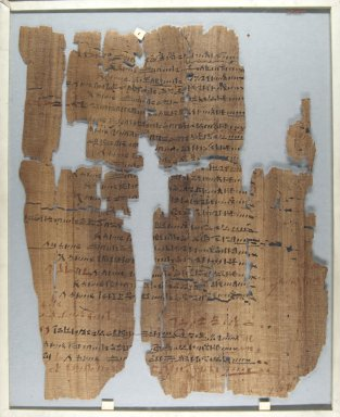 Fragment of Wilbour Papyrus, ca. 1147 B.C.E. Papyrus, pigment, Glass: 14 9/16 x 18 1/8 in. (37 x 46 cm). Brooklyn Museum, Charles Edwin Wilbour Fund, 34.5596.6