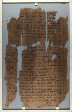 Fragment of Wilbour Papyrus, ca. 1147 B.C.E. Papyrus, pigment, Glass: 11 7/16 x 18 1/8 in. (29 x 46 cm). Brooklyn Museum, Charles Edwin Wilbour Fund, 34.5596.8