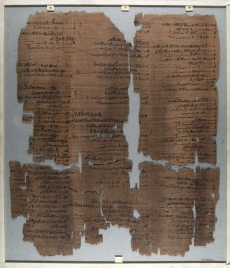 Fragment of Wilbour Papyrus, ca. 1147 B.C.E. Papyrus, pigment, Glass: 15 3/4 x 18 1/8 in. (40 x 46 cm). Brooklyn Museum, Charles Edwin Wilbour Fund, 34.5596.9