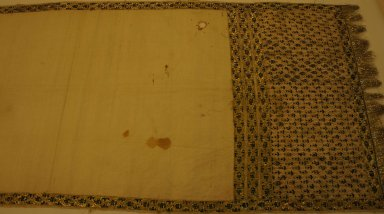 Sash (Patka), Late 19th Century. White plain cloth weave cotton, 21 5/8 x 118 1/8 in. (55 x 300 cm). Brooklyn Museum, Brooklyn Museum Collection, 34.5766. Creative Commons-BY