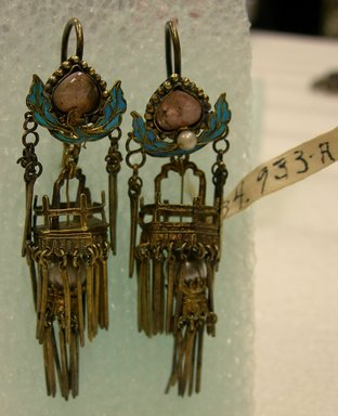 Pair of Earrings, 19th-early 20th century. gilded silver, kingfisher's feather, gem stones, pearls, each: 13/16 x 2 3/4 in. (2 x 7 cm). Brooklyn Museum, Brooklyn Museum Collection, 34.933a-b. Creative Commons-BY
