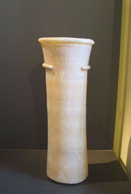 Cylindrical Vase from the Burial of King Djoser, ca. 2675-2625 B.C.E. Egyptian alabaster, 24 5/8 x 8 13/16 in. (62.5 x diam. 22.4 cm). Brooklyn Museum, Charles Edwin Wilbour Fund, 34.976. Creative Commons-BY