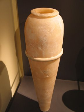 Vase with Pointed Base, from the  Burial of King Djoser, ca. 2675-2625 B.C.E. Egyptian alabaster, 29 1/4 x 5 9/16 in. (74.3 x diam. 14.2 cm). Brooklyn Museum, Charles Edwin Wilbour Fund, 34.978. Creative Commons-BY