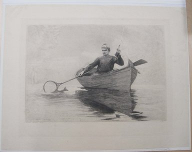 Winslow Homer (American, 1836-1910). Fly-fishing, 1889. Etching, Image: 17 3/8 x 22 7/16 in. (44.1 x 57 cm). Brooklyn Museum, Carll H. de Silver Fund, 35.1061