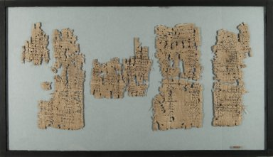Demotic Papyrus, ca 100 BCE - 100 CE. Papyrus, pigment, Glass: 12 x 20 7/8 in. (30.5 x 53 cm). Brooklyn Museum, Gift of Theodora Wilbour, 35.1451