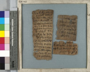 Three Fragments, 30 B.C.E. - 395 C.E. Papyrus, pigment, Glass: 8 7/16 x 8 7/16 in. (21.5 x 21.5 cm). Brooklyn Museum, Gift of Theodora Wilbour, 35.1462