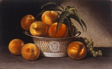 Raphaelle Peale (American, 1774-1825). Still Life with Peaches, 1821. Oil on panel, 12 13/16 x 19 5/16 in. (32.5 x 49 cm). Brooklyn Museum, Caroline H. Polhemus Fund, 35.1865