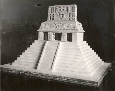 Model of the Temple of the Sun, Palenque, Mexico, 1934. Plaster, wooden palatte, white paint?, includes wood palette: 52 3/8 x 56 5/8 x 40 in. (133 x 143.8 x 101.6 cm). Brooklyn Museum, Brooklyn Museum Collection, 35.2268. Creative Commons-BY