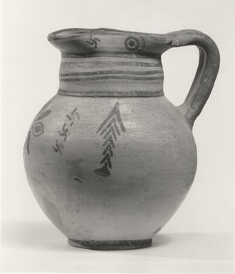 Oinochoe, 600-470 B.C.E. Terracotta, painted, 6 13/16 in. (17.3 cm). Brooklyn Museum, Brooklyn Museum Collection, 35.639. Creative Commons-BY