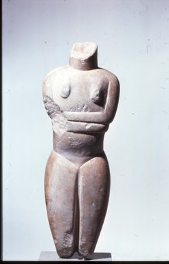 Cycladic. Female Figure, ca. 2500 B.C.E. Marble, 18 1/4 x 5 7/8 x 2 1/2 in. (46.4 x 15 x 6.3 cm). Brooklyn Museum, Charles Edwin Wilbour Fund, 35.812. Creative Commons-BY