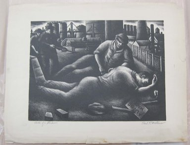 Paul R. Meltsner (American, 1905-1967). Death of a Striker, n.d. Lithograph, Image: 10 11/16 x 14 1/2 in. (27.1 x 36.9 cm). Brooklyn Museum, 35.843