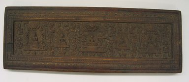 Large Book Cover, 18th-19th century. Wood, 10 5/8 x 29 3/4 in. (27 x 75.5 cm). Brooklyn Museum, 35.888. Creative Commons-BY