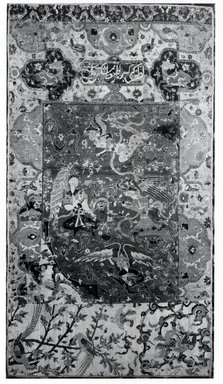 """""""Angel"""" Carpet Fragment, early 16th century. Wool and silk pile, asymmetrical knot, Old, approx.: 18 1/2 x 6 1/2 in. (47 x 16.5 cm). Brooklyn Museum, Gift of Herbert L. Pratt in memory of his wife, Florence Gibb Pratt, 36.213e. Creative Commons-BY"""