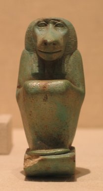 Figure of  the God Thoth, ca. 664-30 B.C.E. Faience, glazed, 4 1/16 x 2 1/4 x 1 11/16 in. (10.3 x 5.7 x 4.3 cm). Brooklyn Museum, Charles Edwin Wilbour Fund, 36.838. Creative Commons-BY
