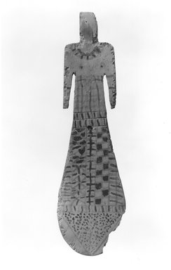 Paddle Doll, ca. 2081-1700 B.C.E. Wood, painted, 8 3/4 x 2 1/2 x 1/4 in. (22.3 x 6.3 x 0.7 cm). Brooklyn Museum, Charles Edwin Wilbour Fund, 37.101E. Creative Commons-BY