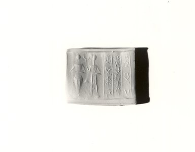 Brooklyn Museum: Cylinder Seal: Two Figures with Old Babylonian Inscription