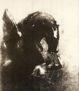 Odilon Redon (French, 1840-1916). Pegase Captif, 1889. Lithograph on China paper laid down, 16 5/8 x 12 3/16 in. (42.3 x 31 cm). Brooklyn Museum, Charles Stewart Smith Memorial Fund, 37.121