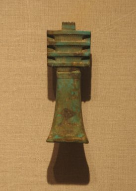 Gilded Djed-pillar, ca. 664-305 B.C.E. Gold, and glazed faience, 4 1/2 x 1 5/8 x 1/2 in. (11.5 x 4.1 x 1.2 cm). Brooklyn Museum, Charles Edwin Wilbour Fund, 37.1230E. Creative Commons-BY