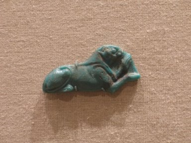 Brooklyn Museum: Inlay in the Form of a Recumbent Falcon-Headed Lion