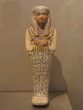 Shawabti of the Lady of the House Sati, ca. 1390-1352 B.C.E. Faience, Height 9 13/16 in. (25 cm). Brooklyn Museum, Charles Edwin Wilbour Fund, 37.124E. Creative Commons-BY
