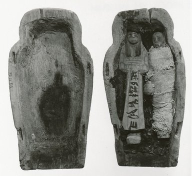 Small Model of a Coffin with Two Ushabti of Seba, ca. 1075-945 B.C.E. Wood, stone and linen, Sarcophagus length: 9 1/2 in. (24.1 cm). Brooklyn Museum, Charles Edwin Wilbour Fund, 37.126Ea-b. Creative Commons-BY