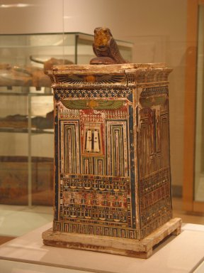 Canopic chest, ca. 380-30 B.C.E. Wood, painted, 20 1/16 x 8 11/16 x 9 7/16 in. (51 x 22 x 24 cm). Brooklyn Museum, Charles Edwin Wilbour Fund, 37.1390E. Creative Commons-BY